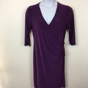 Ashley Stewart Faux Wrap Ruched Side Tie Dress 14W
